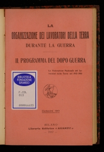 La organizzazione dei lavoratori della terra durante la guerra