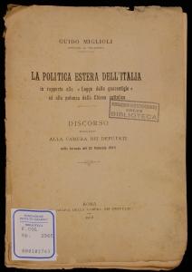 La politica estera dell'Italia in rapporto alla Legge delle guarentigie ed alla potenza della chiesa cattolica