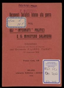 Gli internati politici e il Ministero Salandra