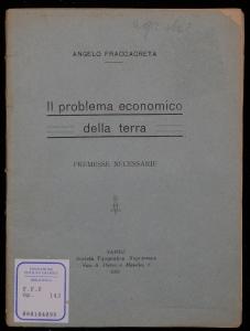 Il problema economico della terra