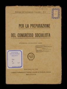 Per la preparazione del congresso socialista