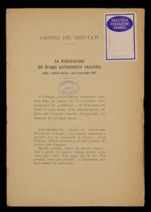 La dichiarazione del Gruppo parlamentare socialista nella seduta storica del 14 novembre 1917\|!
