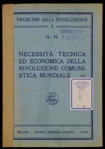 Necessità tecnica ed economica della Rivoluzione comunistica mondiale