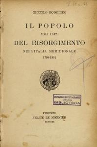 Il popolo agli inizi del Risorgimento nell'Italia meridionale