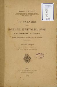 Il salario nella legge sugli infortuni del lavoro e gli operai cottimisti dell'industria solfifera siciliana