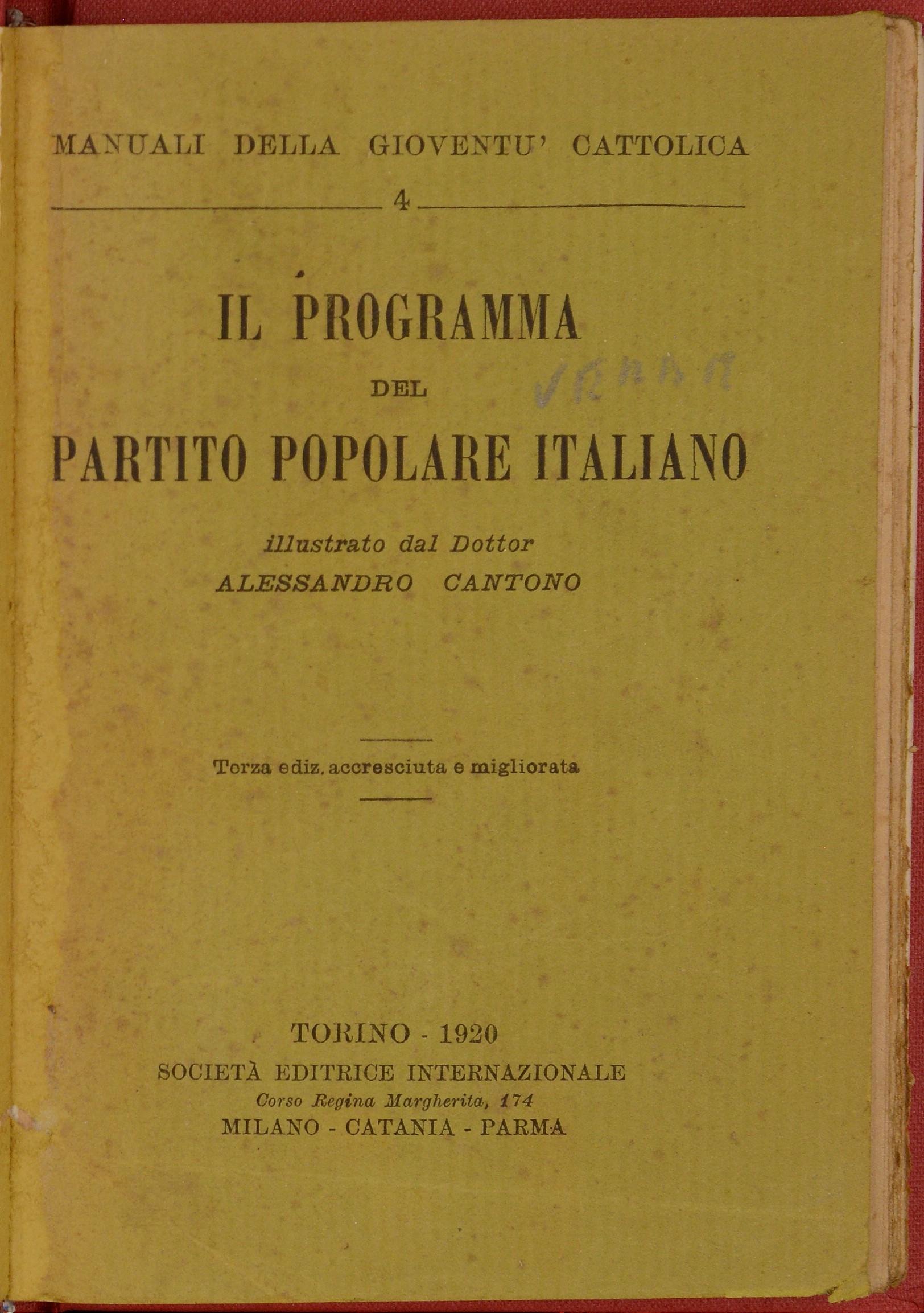 Il programma del Partito popolare italiano