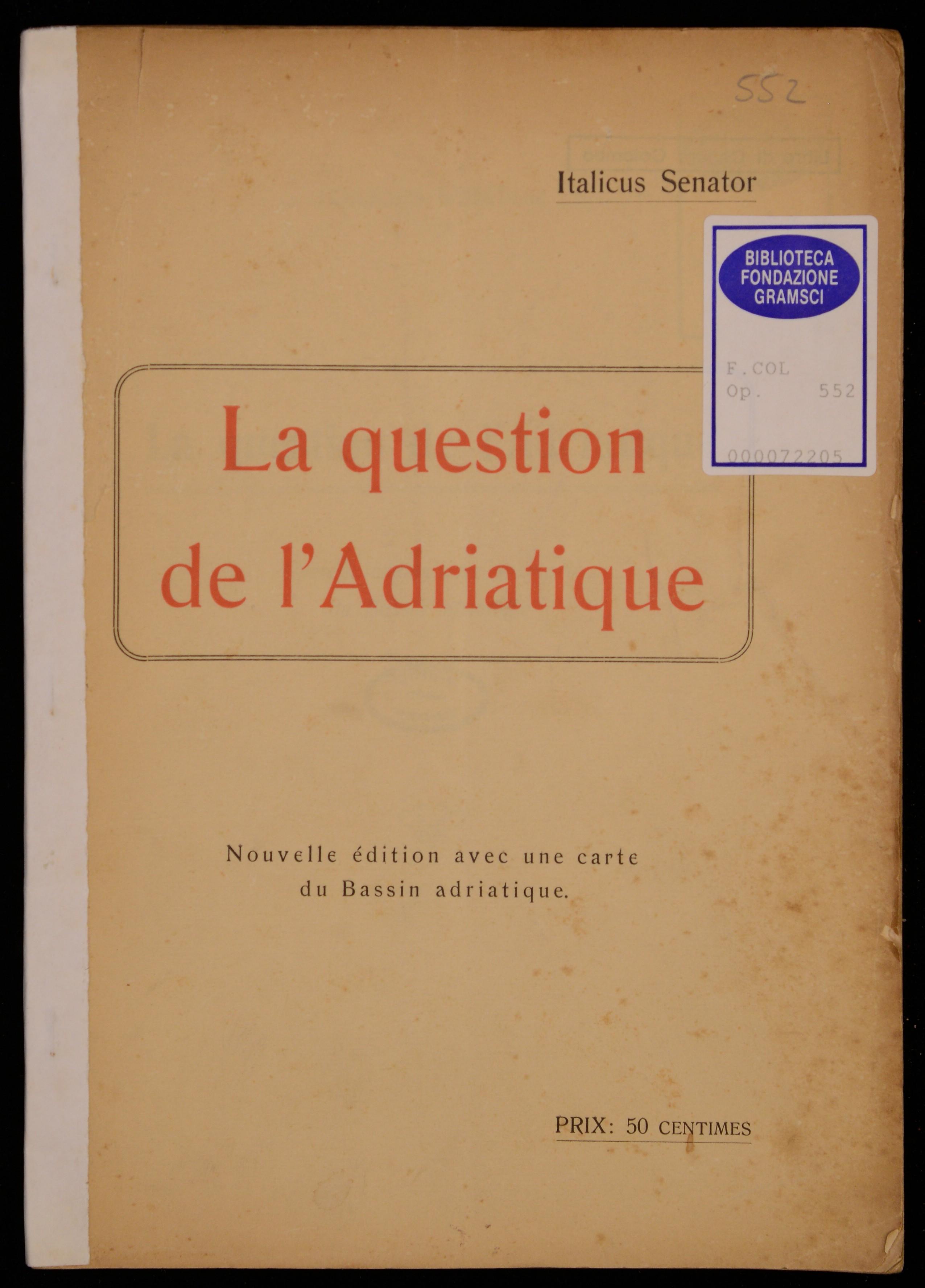 La question de l'Adriatique