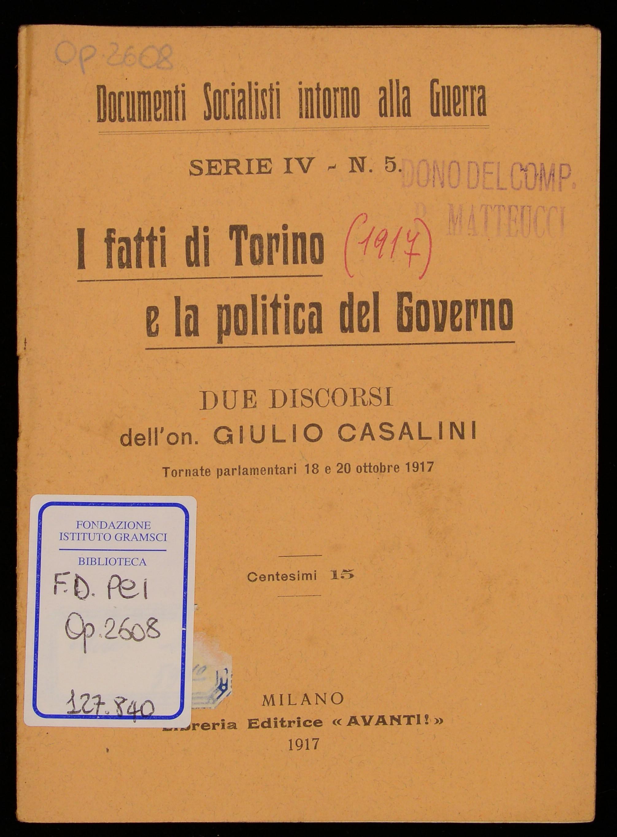 I fatti di Torino e la politica del Governo