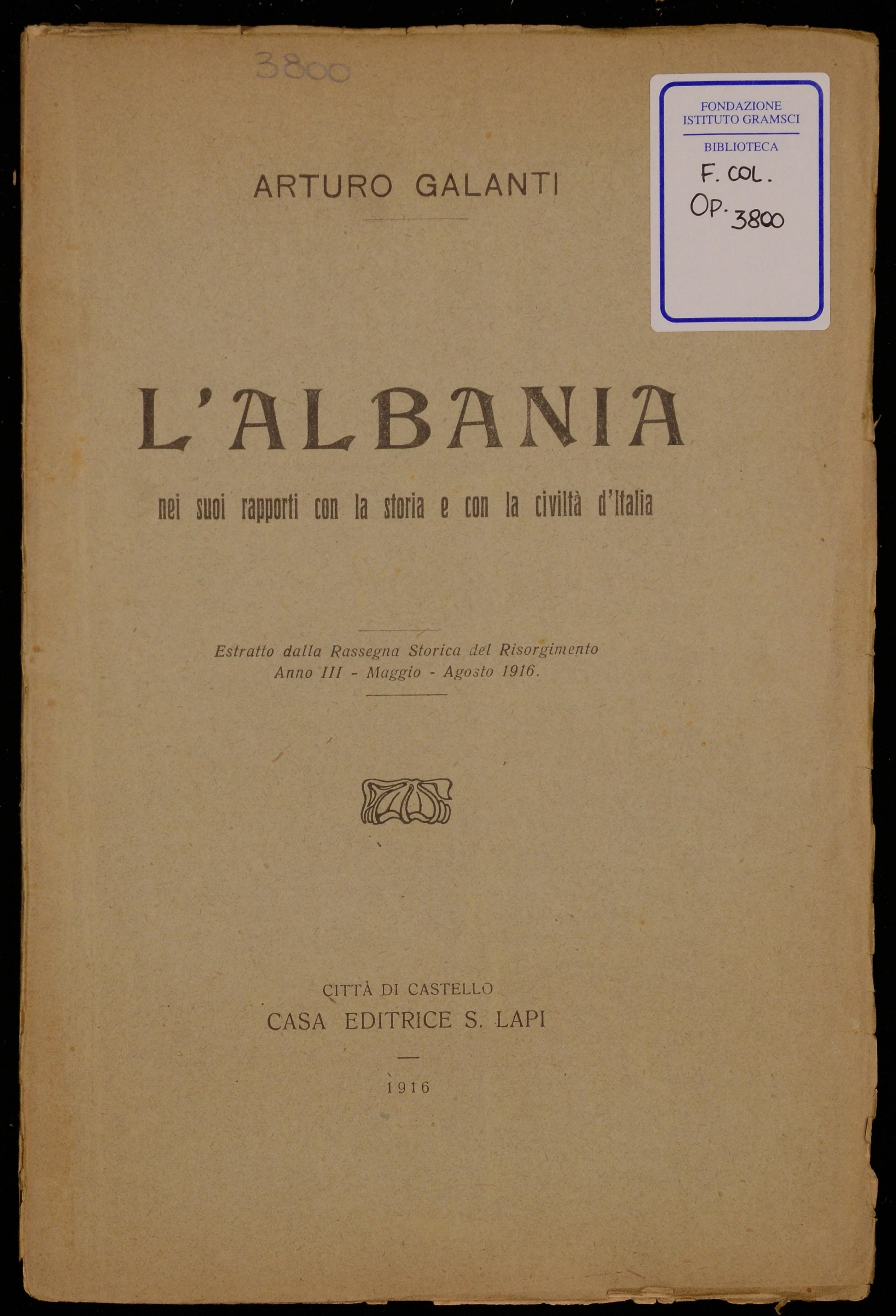 L'Albania nei suoi rapporti con la storia e con la civiltà d'Italia