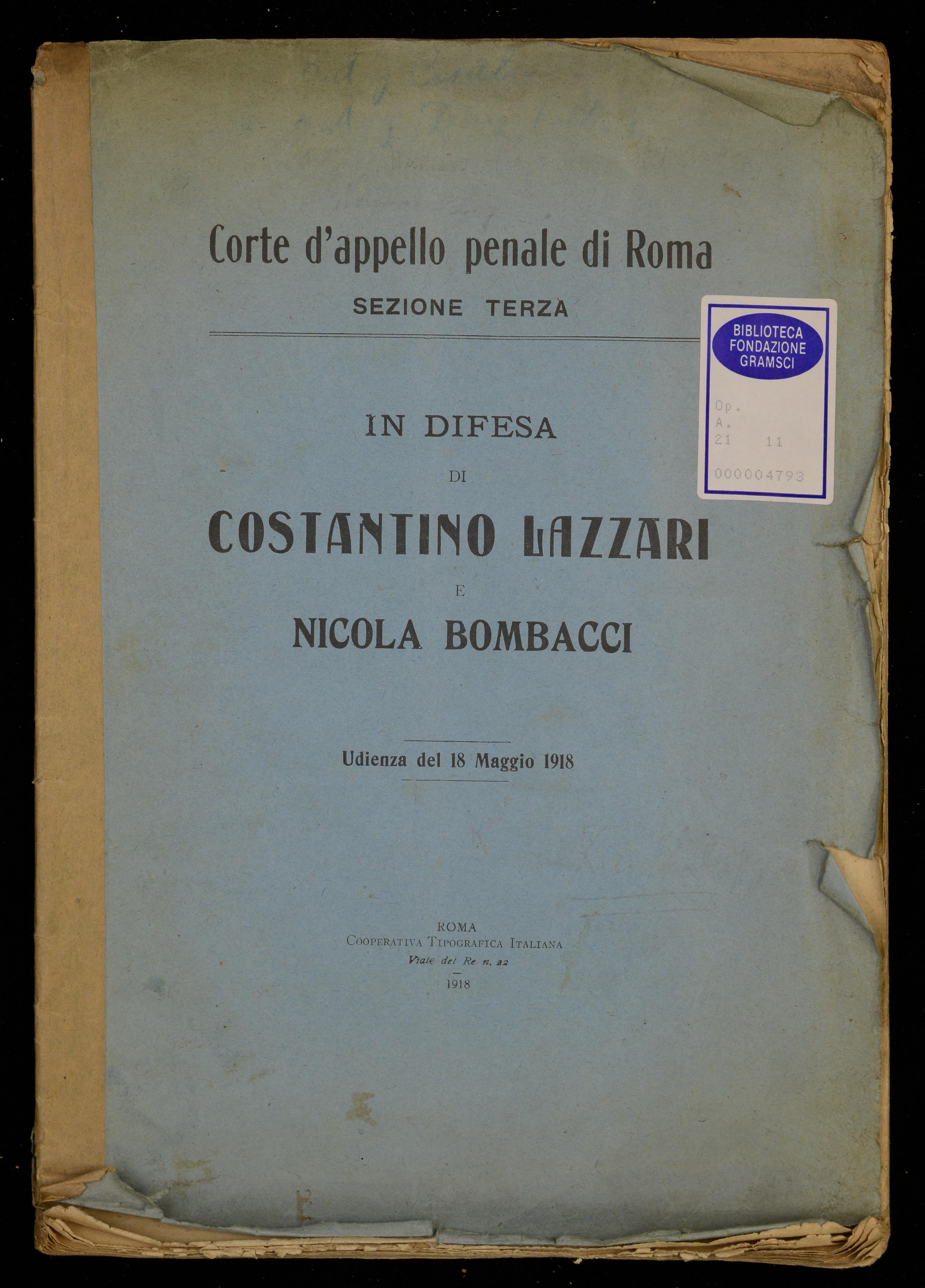 In difesa di Costantino Lazzari e Nicola Bombacci