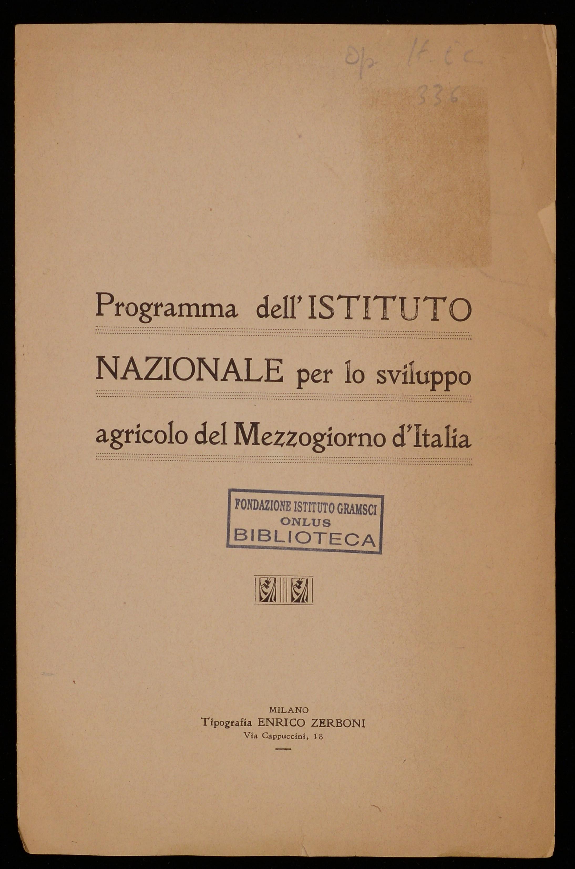 Programma dell'Istituto Nazionale per lo sviluppo agricolo del Mezzogiorno d'Italia