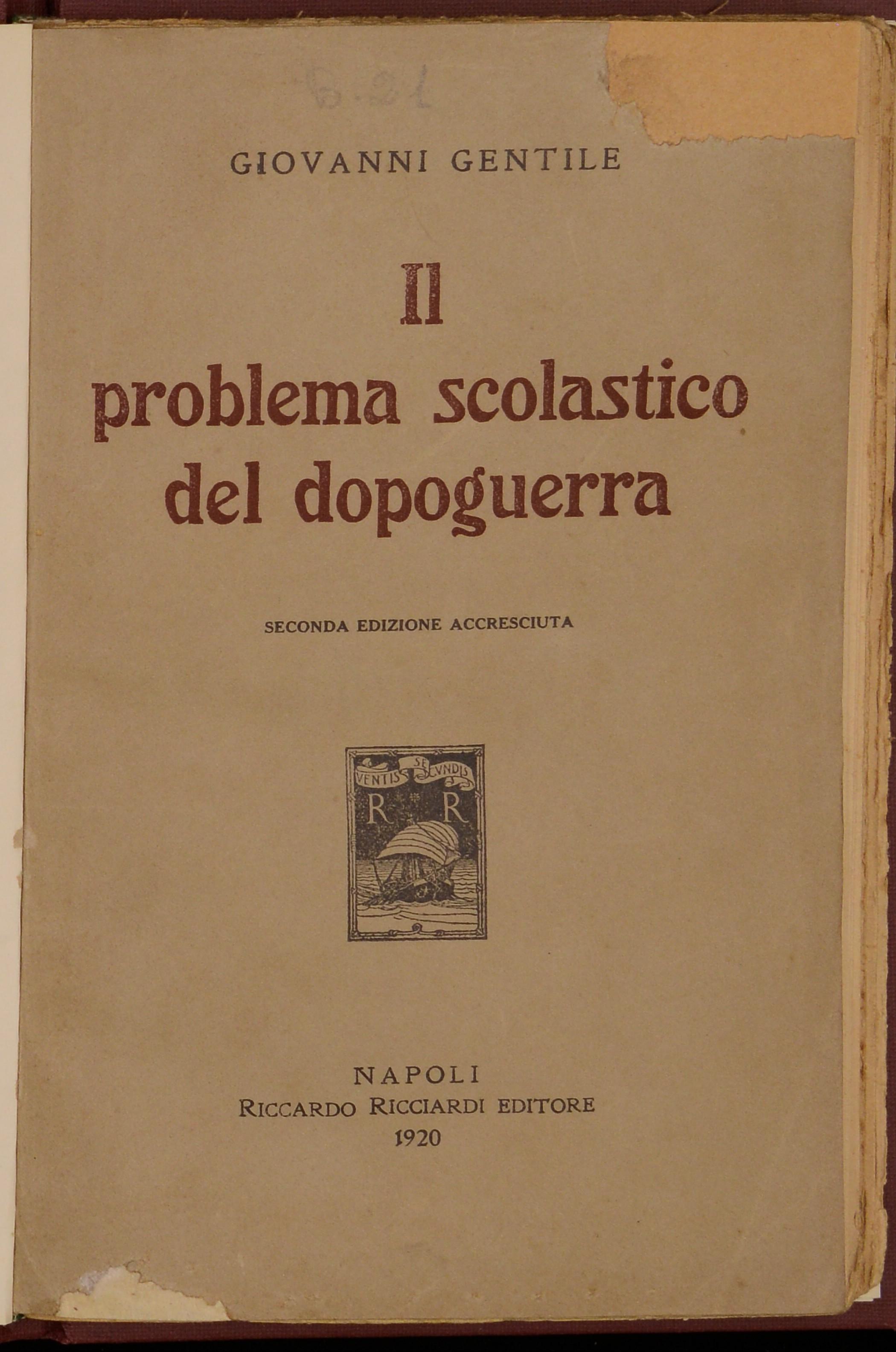 Il problema scolastico del dopoguerra
