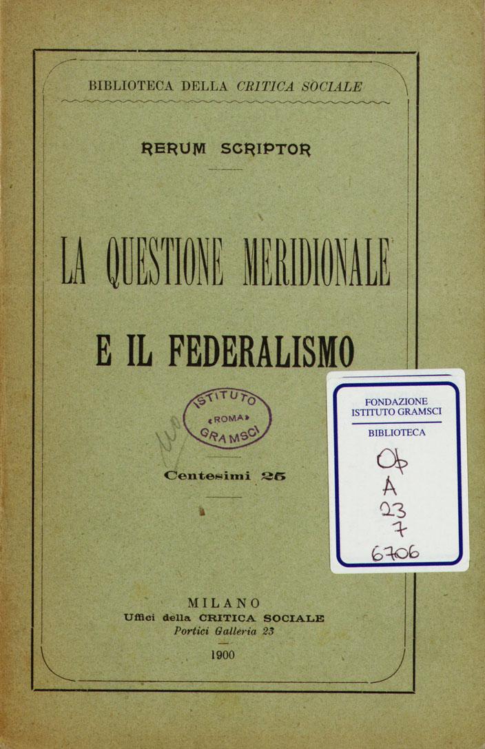 La questione meridionale e il federalismo